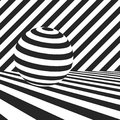 Surfaces with black and white stripes and striped sphere Royalty Free Stock Photo