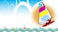 Surfboard regatta poster with vector illustration Stock Photography