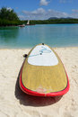 Surfboard surf board on sand beach mauritius island Stock Photos