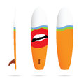 Surfboard with woman lips on it illustration