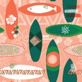 Surfboards seamless repeat pattern. Orange and green surfboards on a coral background. Vintage inspired. Perfect for fabric prints