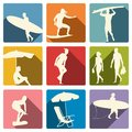 Surfer on a beach silhouettes collection Royalty Free Stock Photo