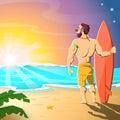 Surfer on the beach. Sunrise on the sea. Hot summer morning.