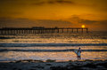 Surfer on the beach at sunset in San Diego California Royalty Free Stock Photo
