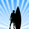 Surfer with board background Stock Photo