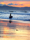 Surfer with boogie board at sunset a entering sea Royalty Free Stock Photography