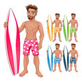 Surfer boy, in different colors Royalty Free Stock Photo