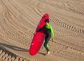 Surfer on the coast of San Sebastian or Donostia. Royalty Free Stock Photo