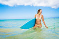 Surfer Girl in Bikini with Surfboard Royalty Free Stock Image