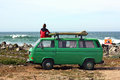 Surfer with his retro van Stock Photography