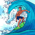 Surfer Man Background Royalty Free Stock Photo