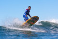 Surfer marciano cruz surfing in california professional at pleasure point santa Royalty Free Stock Photos