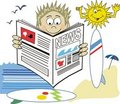 Surfer newspaper cartoon Stock Image