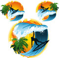 Surfer palms and sea the sun the collection icon illustration Royalty Free Stock Images