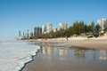 Surfer paradise beach in the morning surfers queensland australia march world renown surf at surfers light as people start Royalty Free Stock Photography