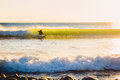 Surfer ride on perfect ocean wave at sunset. Winter surfing in swimsuit Royalty Free Stock Photo