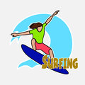 Surfer's drawing on the Hawaiian wave Royalty Free Stock Photo