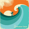 Surfer and sea wave.Retro poster illustration Royalty Free Stock Photo