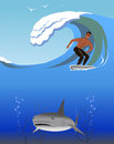 Surfer and shark. Royalty Free Stock Images