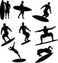 Surfer Silhouettes Royalty Free Stock Image