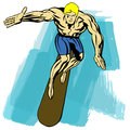 Surfer surfing blond man on blue brushes Royalty Free Stock Photo