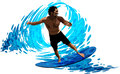 Surfer on waves, vector illustration