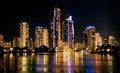 Surfers Paradise Buildings at Night in Australia Royalty Free Stock Photo