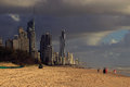 Surfers paradise under the clouds city of gold coast stands out in beach cloudy sky with blue hole Stock Photography