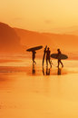 Surfers on the shore at sunset Royalty Free Stock Photo