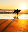 Surfers silhouette Royalty Free Stock Photo