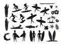 Surfers silhouettes set. men and women surfing, riding waves, stand, walk, run, swim with surfboards, symbols design decoration,
