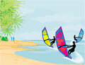 Surfers on a sunny day illustration Stock Photo