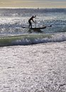 Surfing in barcelona on platja sant sebastia catalonia spain Royalty Free Stock Photography