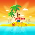 Surfing beach concept with surfer with board and palm on background flat vector illustration Stock Image