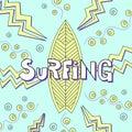 Surfing board doodle illustration.