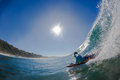 Surfing Body-Boarder Bottom Wave Stock Photo