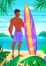 Surfing boy cartoon character.  vector illustration. Royalty Free Stock Photo
