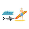 Surfing boy vector illustration