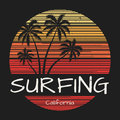 Surfing california tee print with palm trees