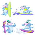 Surfing cartoon dinosaur illustrated set of dinosaurs isolated on white background Royalty Free Stock Photo
