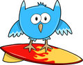 Surfing Cute Owl Bird Vector Stock Photo