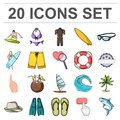 Surfing and extreme cartoon icons in set collection for design. Surfer and accessories vector symbol stock web