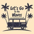 Surfing grunge typography with surf bus, palm trees and surfboard. Graphics for design clothes, t-shirt, print product, apparel. Royalty Free Stock Photo