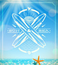 Surfing grunge vintage emblem against summer sunny seascape Stock Image
