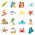 Surfing icons flat set with board beach and snorkeling isolated vector illustration Stock Images