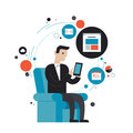 Surfing the net flat illustration concept design style modern vector of businessman in stylish suit using mobile phone or digital Royalty Free Stock Image