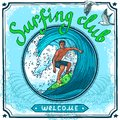 Surfing poster water sport club welcome advertisement for active vacation recreation and waves board riding vector illustration Stock Image
