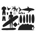 Surfing silhouette vector set.