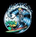 Surfing T-shirt Vector Designs. Vector Logo Illustration with Skeleton Surfer. Vintage Surfing Emblem for web design or Royalty Free Stock Photo