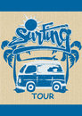 Surfing tour vector illustration of a surf van with palm trees on a repeat pattern Royalty Free Stock Images